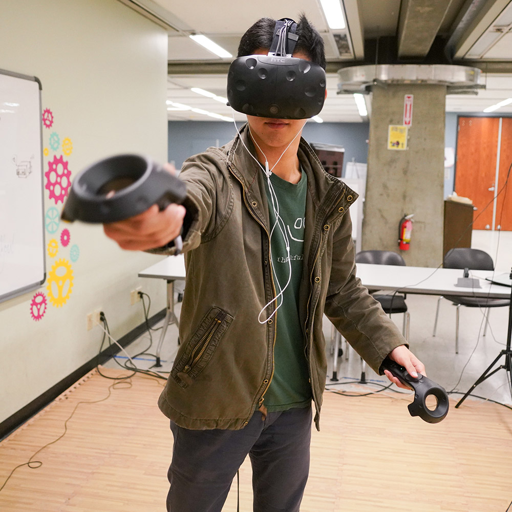 Student using virtual reality equipment