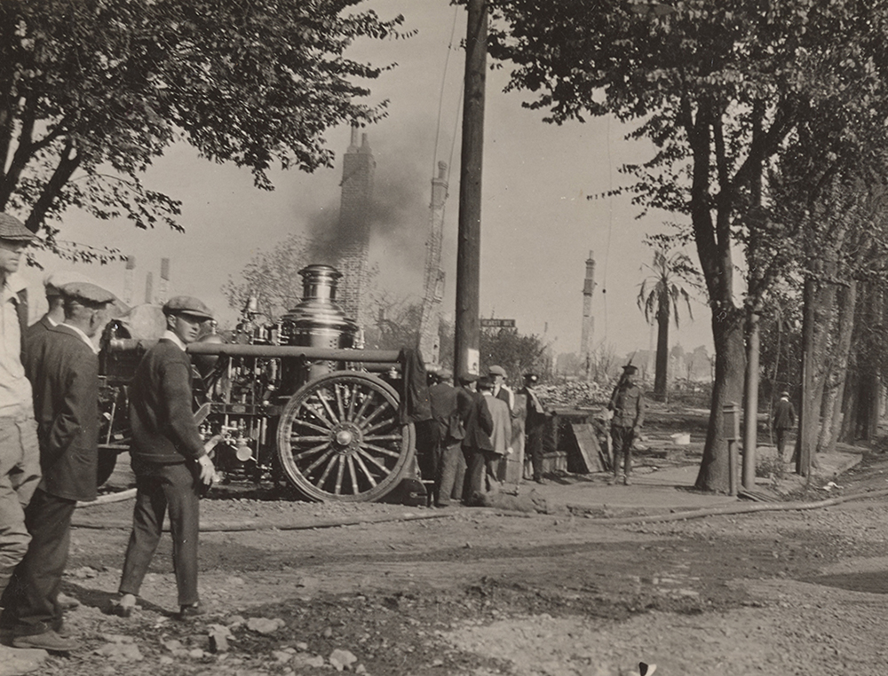 An image of fire trucks from the Berkeley Fire of 1923